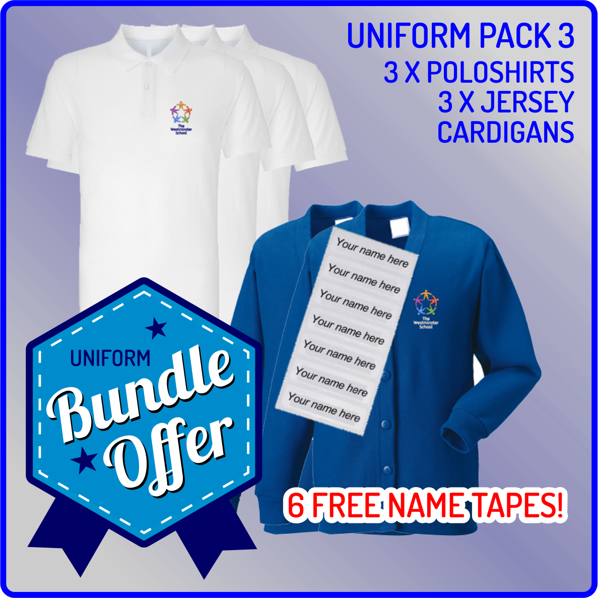 Bundle offer of 3 Jersey Cardigan & 3 Poloshirts - includes FREE name tapes!