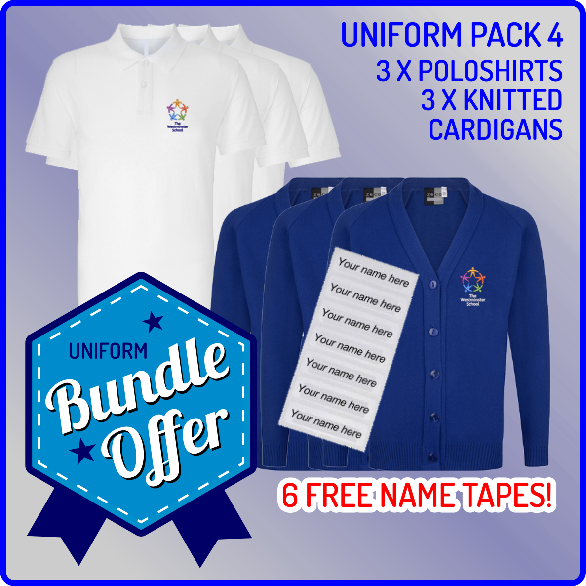 Bundle offer of 3 Knitted Cardigan & 3 Poloshirts - includes FREE name tapes!