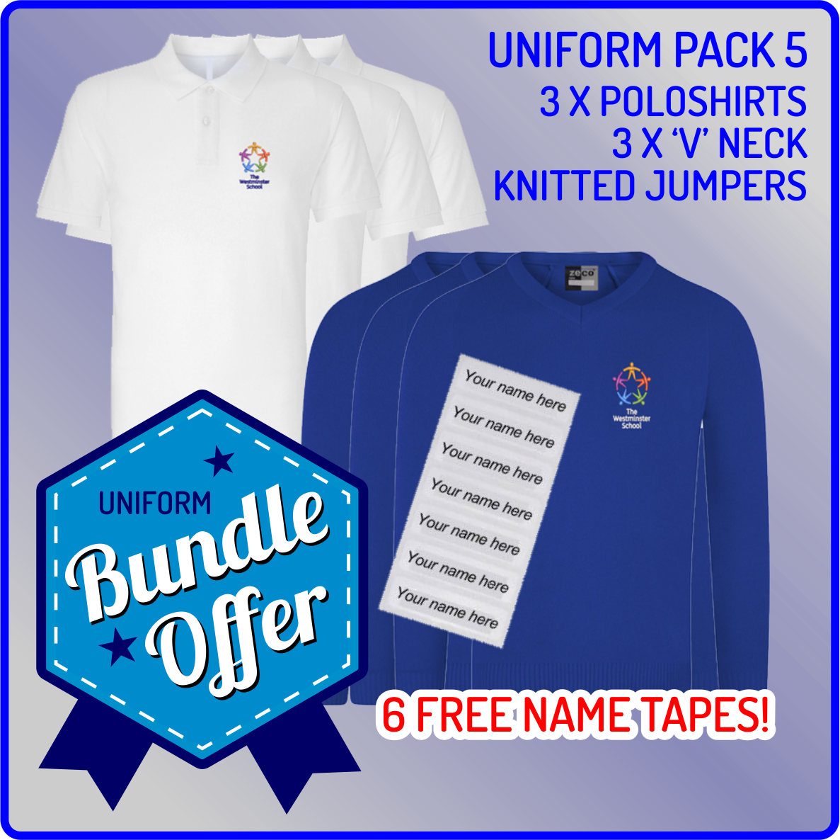 Bundle offer of 3 Knitted V Neck Jumpers & 3 Poloshirts - includes FREE name tapes!