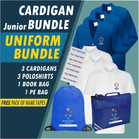 Bundle offer of 3 Cardigans, 3 poloshrts PE Bag a Book Bag! Plus Free name tapes