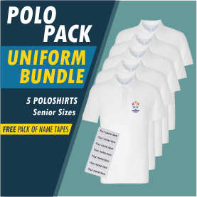 Bundle package of 5 poloshirts and 25 free name tapes